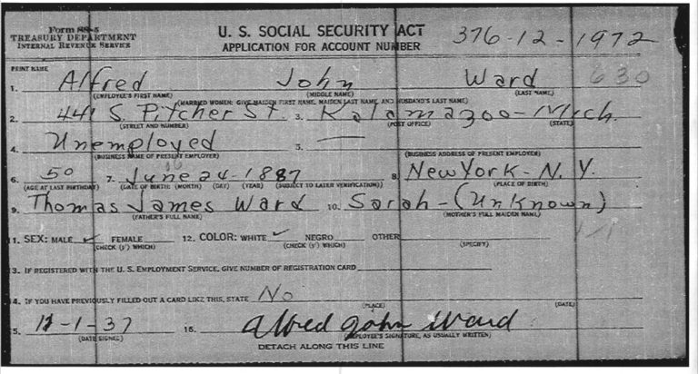 Alfred John Ward SS Application 01 Dec 1937 Kalamazoo MI copy web