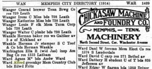 Alfred Ward Memphis City Directory 1914