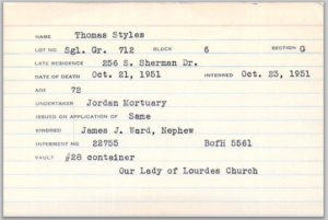 Thomas J Styles, burial card Holy Cross Cemetery, Indianapolis
