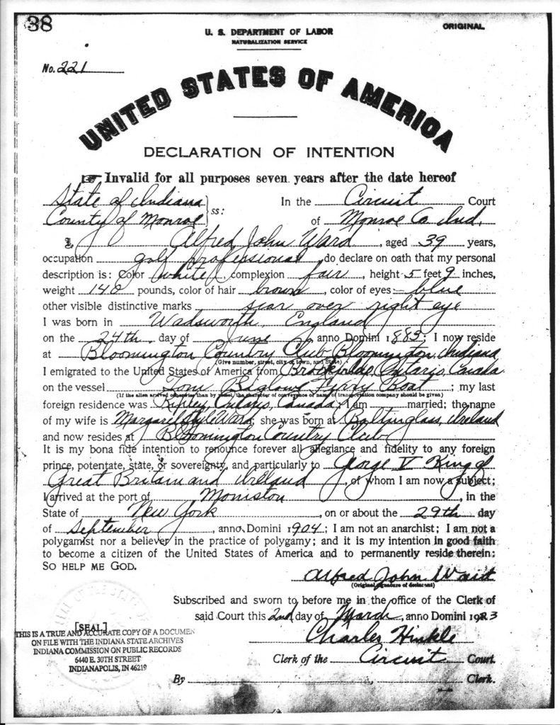 Alfred J Ward Declaration of Intention for Naturalization 1923 Monroe County Indiana