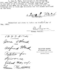 Jane S Ward vs Alfred Ward divorce Shelby Co TN 1915 p2_3