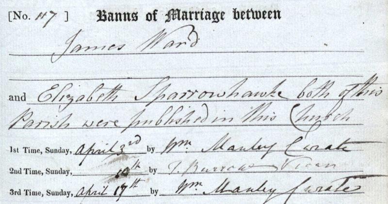 James Ward and Elizabeth Sparrowhawk, Marriage Banns, April 1830 Bampton, Oxfordshire