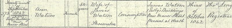 Ann Watson, age 50, wife of James Watson shoemaker, death certificate 29 Sep 1842, 1 Eatley's Buildings, Chelsea, Middlesex