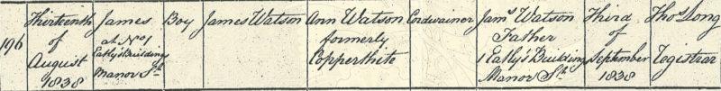 James Watson, birth certificate, 13 Aug 1838, Chelsea St. Luke