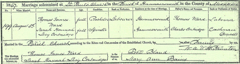 Thomas James Ward and Sarah Hannah Lucy Courtneidge marriage, 5 Aug 1867, Hammersmith
