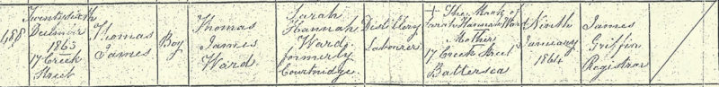 Thomas James Ward birth certificate, 26 Dec 1863, Creek St, Battersea