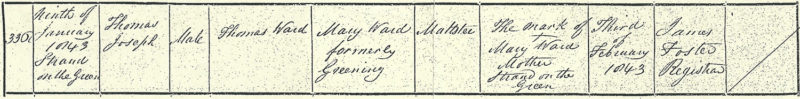 Thomas Joseph Ward, birth certificate, 9 Jan 1843, Strand-on-the-Green, Chiswick