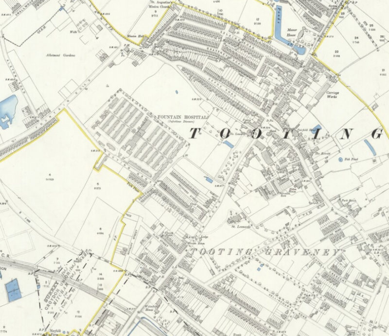 Tooting, Ordinance Survey Map, 1894, Reproduced with the permission of the National Library of Scotland