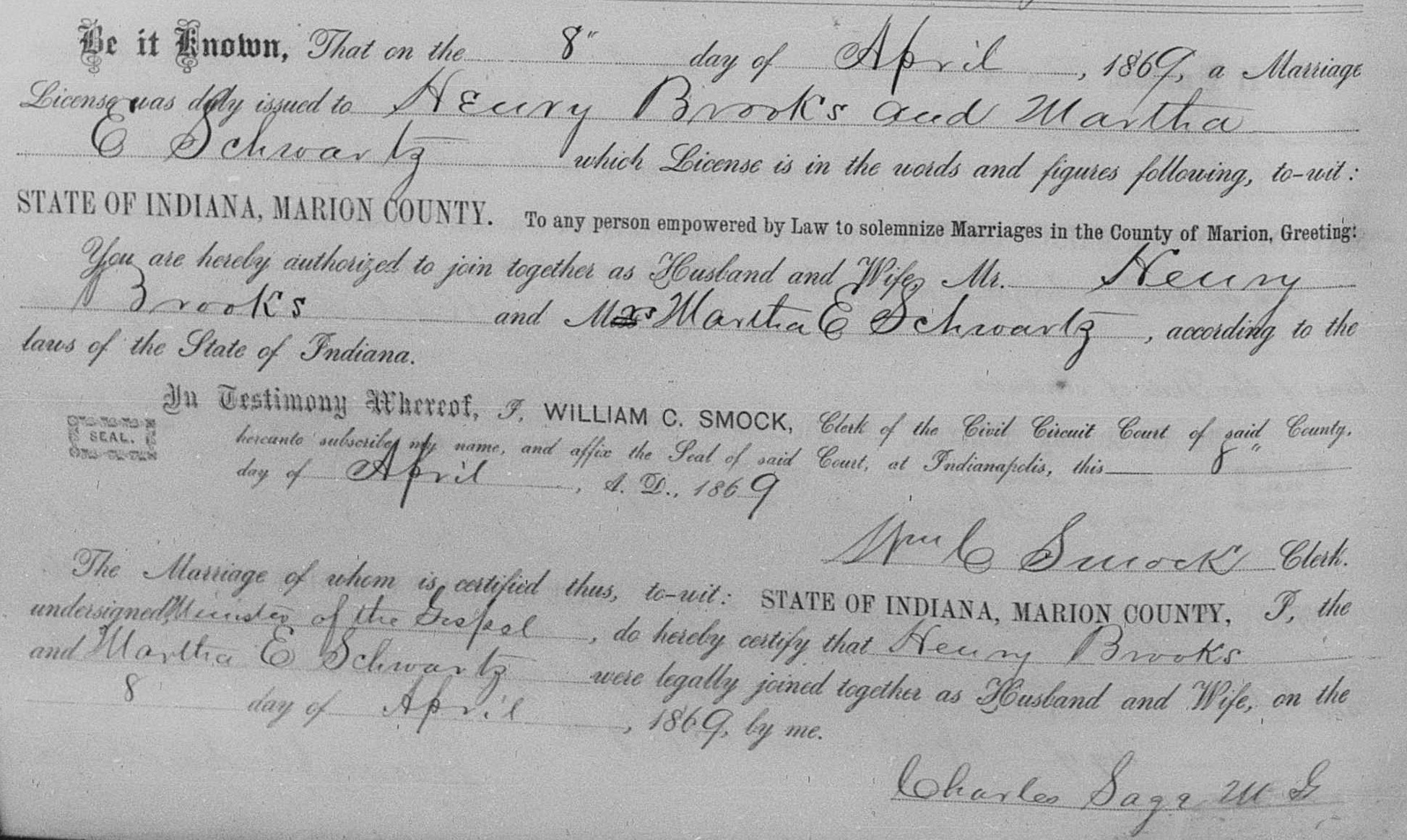Henry brooks and mariah fuller of hancock county indiana and marriage records marion county indiana henry brooks and martha schwartz 8 apr 1869 aiddatafo Gallery